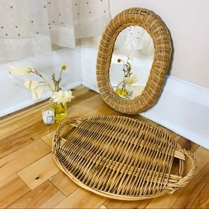 Vintage Wicker Mirror And Tray Set